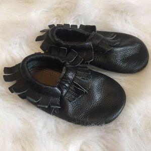 Black Leather Moccs